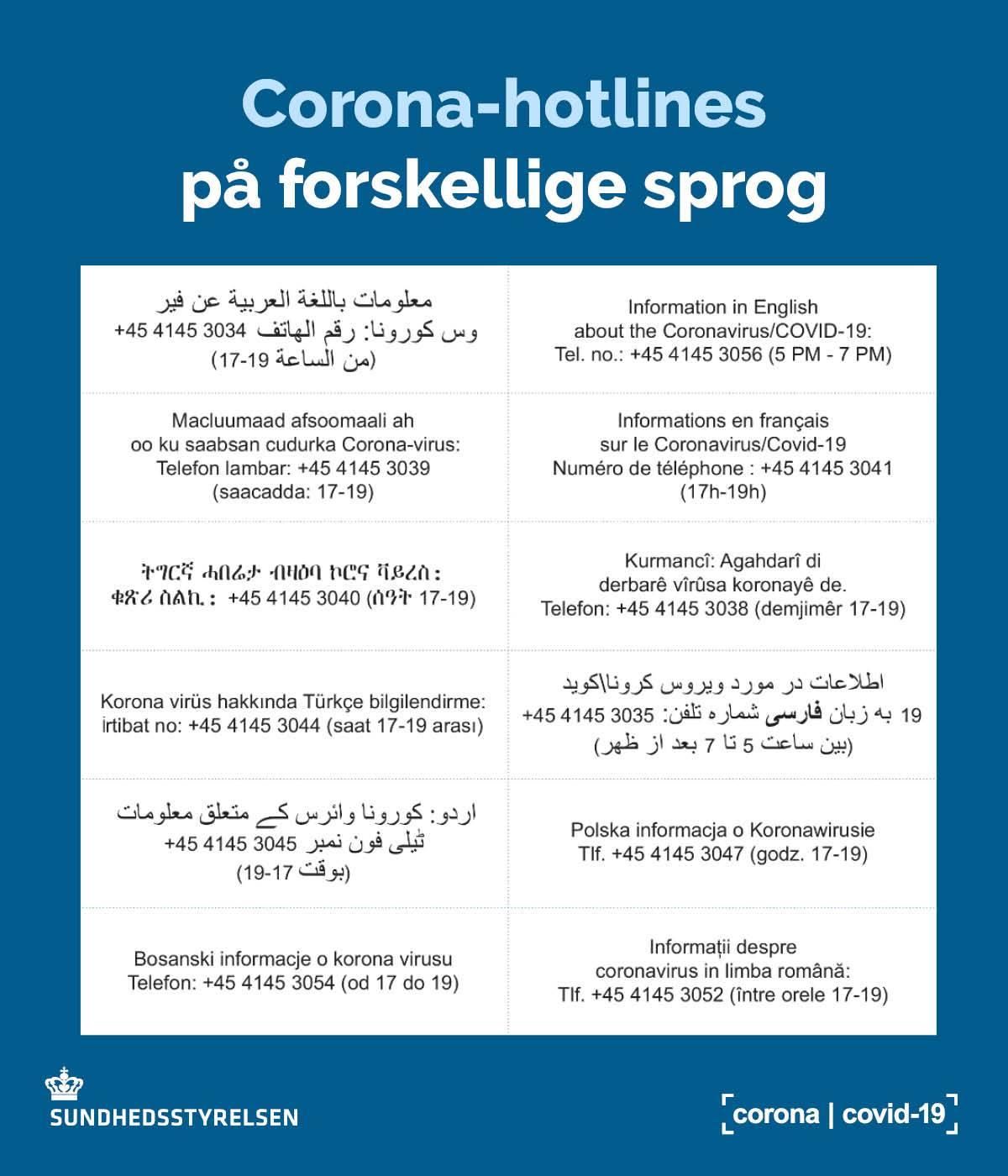 Corona-hotline på flere sprog