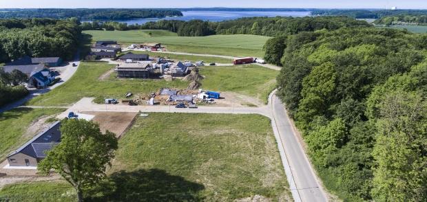 Luftfoto over parcelhusgrunde på Argentinervej i Sønderskov