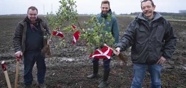 Landal GreenParks, Plant et Træ og Fredericia Kommune tager første spadestik til plantningen af 12.000 træer. Fra venstre ses: Kent Lodberg, Jens Døssing og Christian Bro.