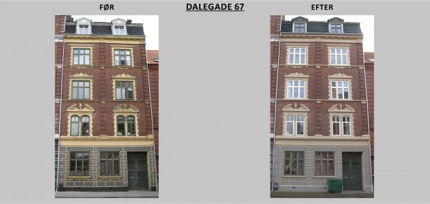 Billedet viser Dalegade 67 før og efter renovering
