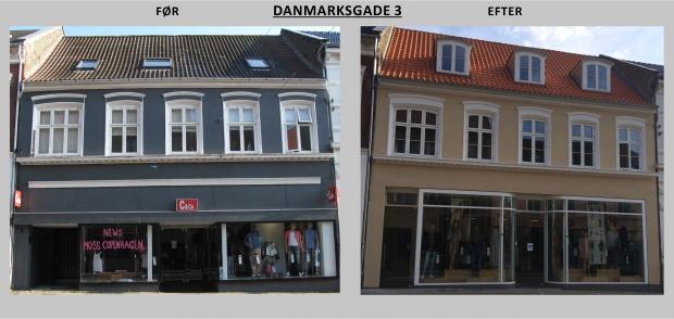 Billedet viser Danmarksgade 3 før og efter renovering