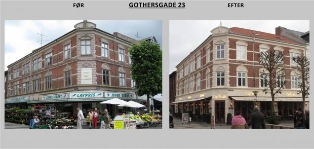 Billedet viser Gothersgade 23 før og efter renovering
