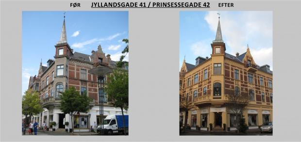 Billdet viser Jyllandsgade 41 før og efter renovering