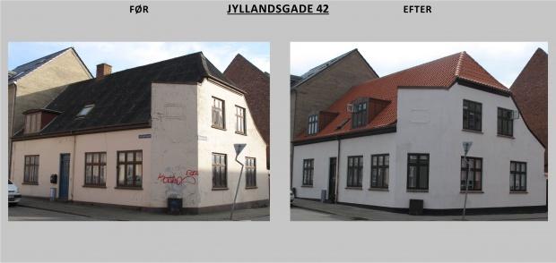 Billedet viser Jyllandsgade 42 før og efter renovering