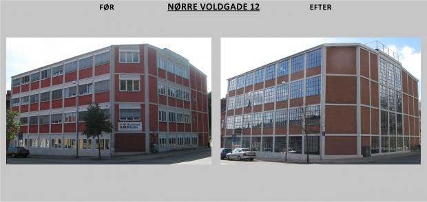 Billedet viser Nørre Voldgade 12 før og efter renovering