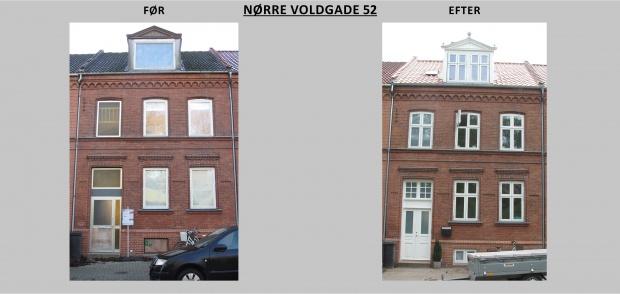 Billedet viser Nørre Voldgade 52 før og efter renovering