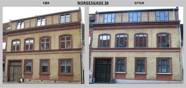 Billedet viser Norgesgade 36 før og efter renovering