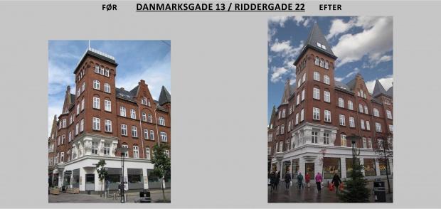 Billede viser Riddergade 22 før og efter