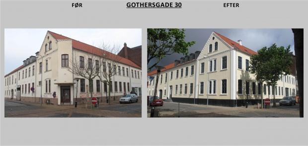 Billedet viser Gothersgade 30 før og efter renovering