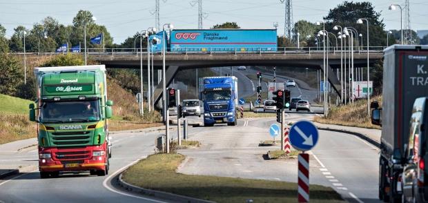 Lastbil i Danmarkc Erhvervsområdet i Taulov i Fredericia Kommune.